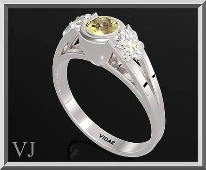 925 Sterling Silver Three Stone Flower Engagement Ring With Yellow Citrine by Roi Avidar