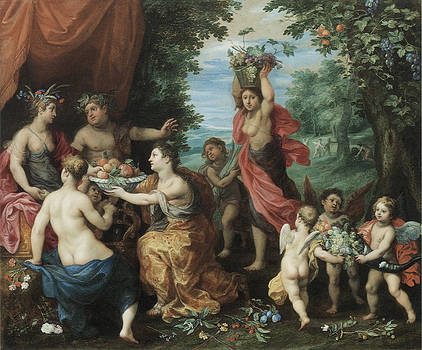 Jan Brueghel the Younger - A Bacchanal with Ceres Bacchus and Venus