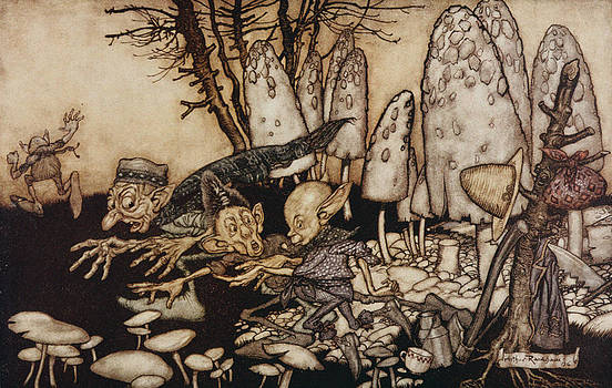 Arthur Rackham - A Band Of Workmen, Who Were Sawing Down A Toadstool, Rushed Away, Leaving Their Tools
