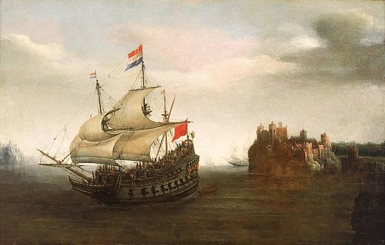 A Castle With A Dutch Ship Sailing Nearby by Hendrick Cornelisz Vroom