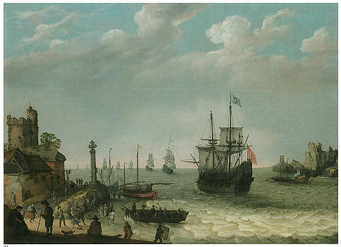Abraham Willaerts - A Coastal Landscape with Figures on the Shore