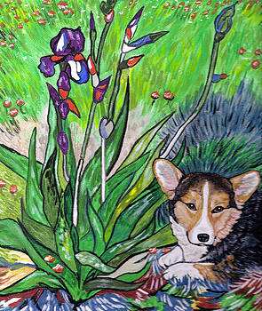 A Corgi Rests in Sprng by Karen Howell