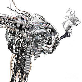A cyborg smokes by Diuno Ashlee