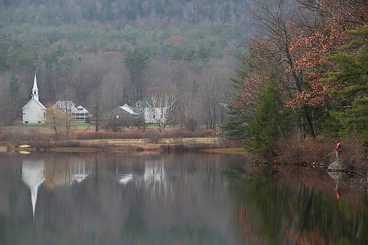 Crystal Lake little White Church  by Jeffrey Akerson