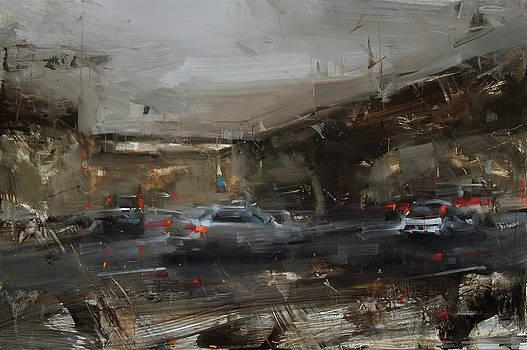 A Drive Under Darkening Skies by Tibor Nagy