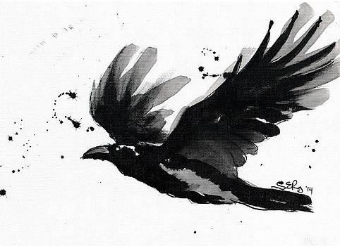 A flying raven by Silja Erg