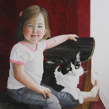 A Girl and Her Cat by Parrish Hirasaki