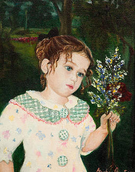 A little girl with flowers by Michal Schwarz