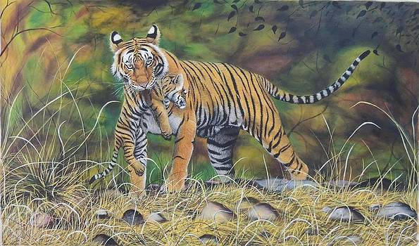A Kind of Care -2   Oil on Canvas by Hukam Chand Wildlife artist