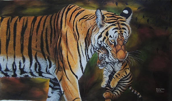 A Kind of Care    Oil on Canvas by Hukam Chand Wildlife artist