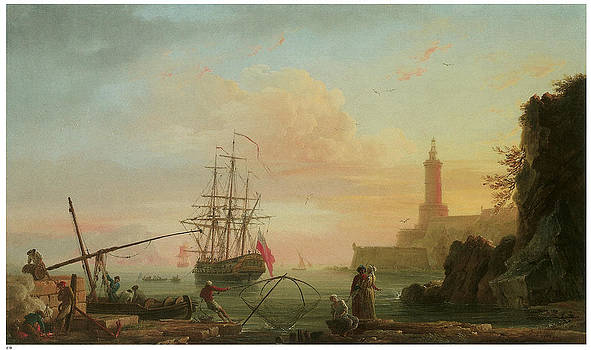 Claude-Joseph Vernet - A mediterranean Port at Sunrise with a Lighthouse