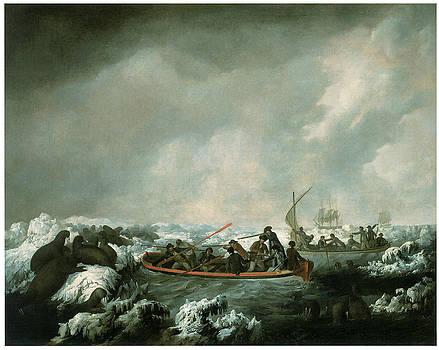 John Webber - A Party from HMS Resolution Shhting Sea Horses