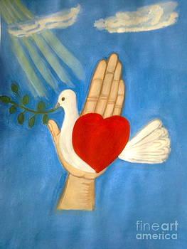 A pigeon on a hand by Zornitsa Tsvetkova