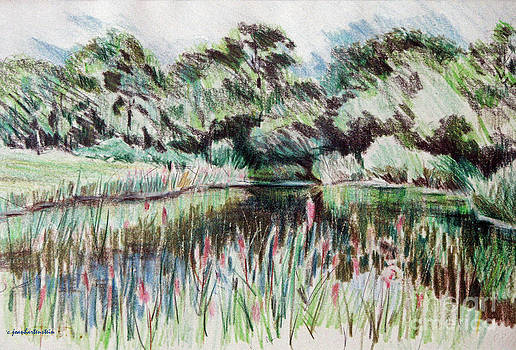 A Pond at Watch Hill RI by Joan Hartenstein