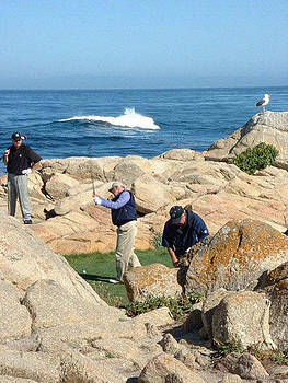 a practice swing at PEBBLE BEACH by Joan  Jones