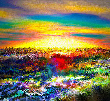 A Rainbow Paisley sunrise V.3 by Rebecca Phillips