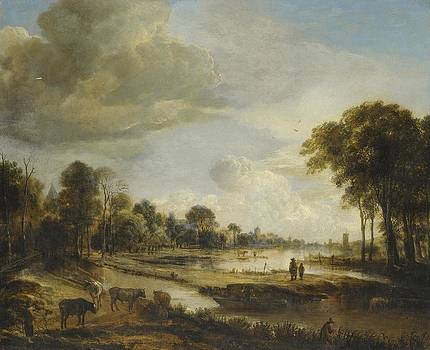 Gianfranco Weiss - A River Landscape with Figures and Cattle