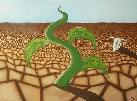 A Root in Dry Ground-desert painting with cow skull and green plant by Millian Glenn