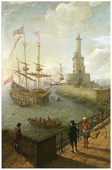 Abraham Willaerts - A Spanish Three-Decker Anchored at Naples
