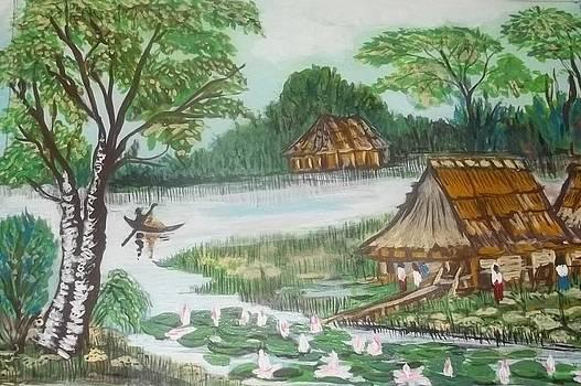 A Thai Village by Iris Devadason