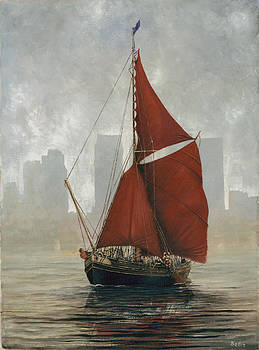 A Thames Barge by Canary Wharf by Eric Bellis
