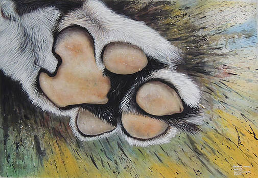 A Tiger Paw Silk Painting  by Hukam Chand Wildlife artist