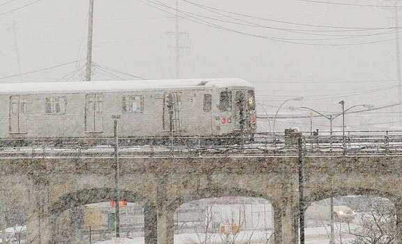 A Train Shuttle in Snowstorm by Maureen E Ritter