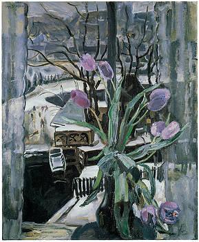 Johannes Carolus Bernardus Sluijters - A Vase of Tulips in Front of a Window