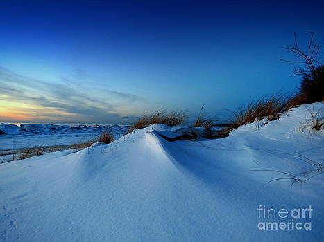 A Winter's Sunset Snow Bluffs Beachgrass Sunset by Jack  Martin