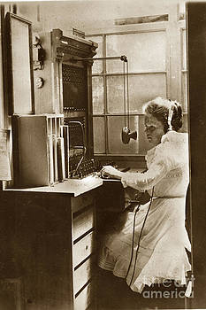 California Views Archives Mr Pat Hathaway Archives - A young Winnifred Tuttle works the telephone exchange Pacific Grove circa 1905