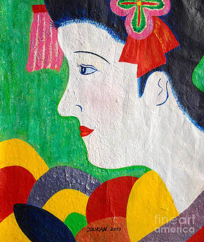 A Girl In Kyoto by Taikan Nishimoto by Taikan Nishimoto