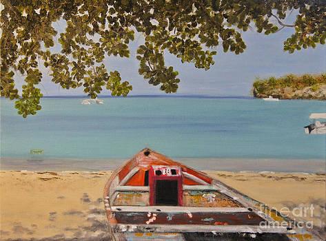 Abandoned Boat Seascape by Debra Crank