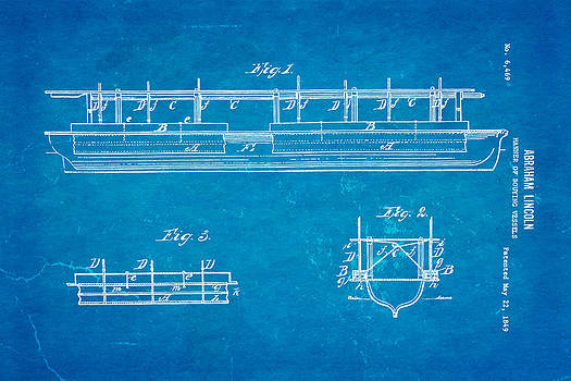 Ian Monk - Abraham Lincoln Buoyancy Patent Art 1849 Blueprint