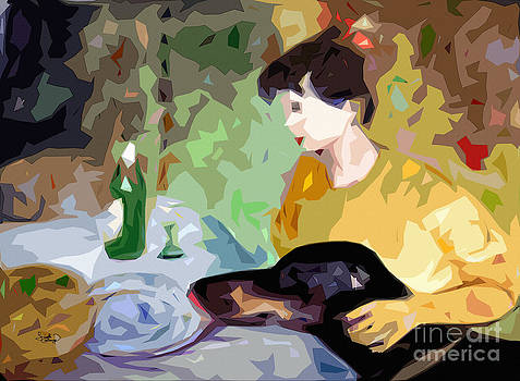 Ginette Callaway - Abstact Dinner Self Portrait with Doberman Dog