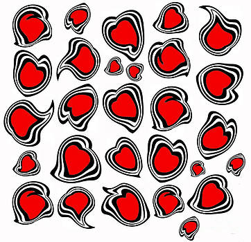 Hearts Black White Red No.386. by Drinka Mercep