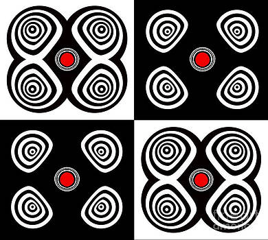 Abstract Black White Red Op Art Minimalism No.217  by Drinka Mercep