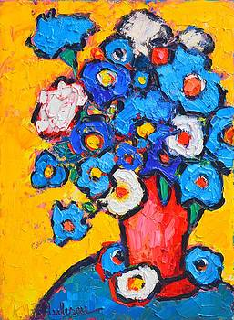 ANA MARIA EDULESCU - ABSTRACT BLUE AND WHITE POPPIES ON YELLOW