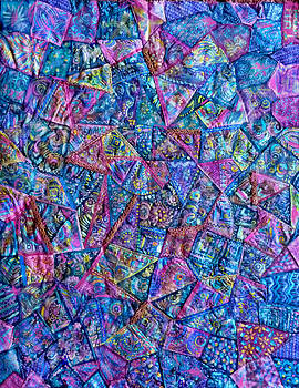 Abstract Blue Rose Quilt by Jean Fitzgerald
