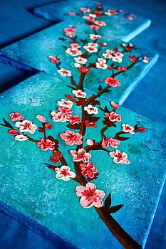 Abstract Cherry Blossom oil painting by Shraddha Tiwari