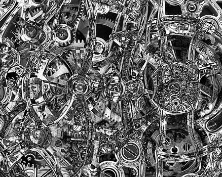 Mary Clanahan - Abstract Cogs Black White Art