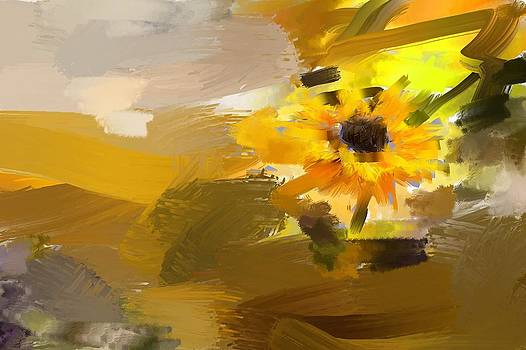 Abstract Color with Sunflower by Saibal Ghosh