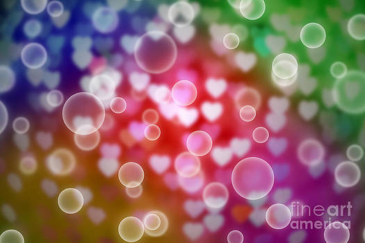 Abstract Colorful Defocused Heart Bokeh With Bubble by Pakorn Kitpaiboolwat