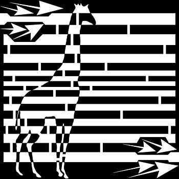 Abstract Distortion Giraffe Maze  by Yonatan Frimer Maze Artist