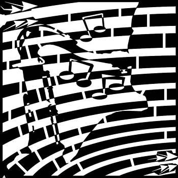 Yonatan Frimer Maze Artist - Abstract Distortion Sax Player Maze