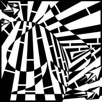 Abstract Distortion Spade Maze  by Yonatan Frimer Maze Artist