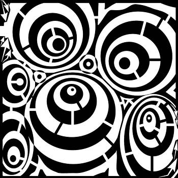 Abstract Distortion Three Spins Maze by Yonatan Frimer Maze Artist