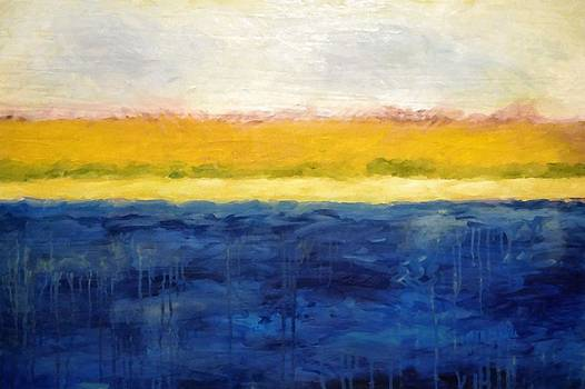 Michelle Calkins - Abstract Dunes with Blue and Gold
