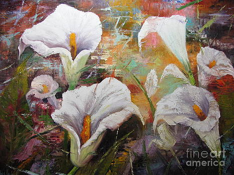 Abstract Fractured Calla Lilies by Barbara Haviland