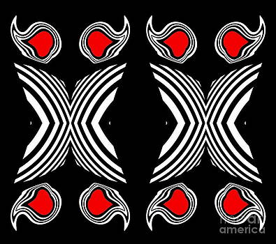 Abstract Geometric Black White Red Op Art No.385. by Drinka Mercep