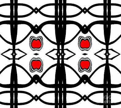 Abstract Geometric Black White Red Pattern Art No.173. by Drinka Mercep